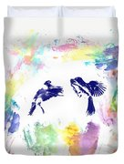 Water Color Bird Fight Duvet Cover
