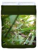Water Droplet On Grass Blade Duvet Cover