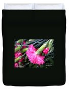Water Droplets On Carnations Duvet Cover by Janice Byer