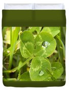 Water Droplets On Clover Duvet Cover