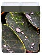Water Drops Leaves Duvet Cover