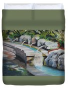 Water Fall In The Gratto Duvet Cover