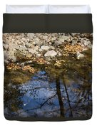 Water Leaves Stones And Branches Duvet Cover