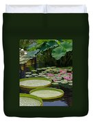 Water Lilies And Platters And Lotus Leaves Duvet Cover