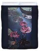Water Lilies At Sunset Duvet Cover