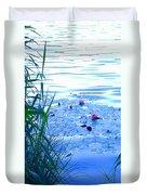 Water Lilies Blue Duvet Cover