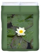 Water Lily - White Duvet Cover