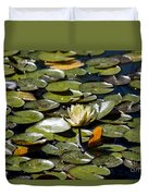 Water Lily And Bees Duvet Cover