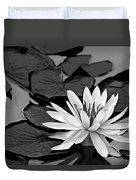 Water Lily Black And White Duvet Cover