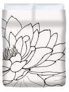 Water Lily Line Drawing Duvet Cover