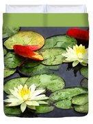 Water Lily Pond In Autumn Duvet Cover