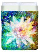 Water Lily With Iridescent Water Drops Duvet Cover