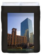 Water Taxi Fultons On The River Chicago Duvet Cover