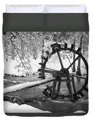 Water Wheel In Snow Duvet Cover