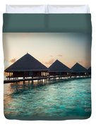 Waterbungalows At Sunset Duvet Cover