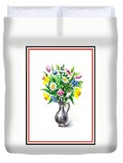 Watercolor Flowers Bouquet In Metal Pitcher Impressionism Duvet Cover