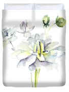 Watercolor Illustration With Beautiful Flowers  Duvet Cover