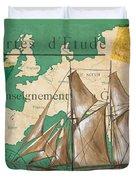 Watercolor Map 1 Duvet Cover by Debbie DeWitt