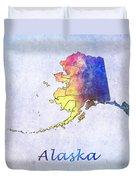 Watercolor Map Of Alaska      United States Duvet Cover
