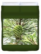 Watercolor Of Ripening Pine Cone Duvet Cover