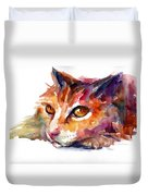 Watercolor Orange Tubby Cat Duvet Cover
