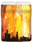 Watercolor Painting Of Skycrapers Of Downtown Chicago As Viewed  Duvet Cover