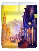 Watercolor Painting Of Street And Church Morelia Mexico Duvet Cover
