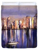 Watercolor Painting Of Vancouver Skyline Duvet Cover