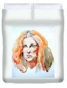 Watercolor Portrait Of A Mad Redhead Duvet Cover