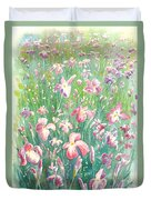 Watercolour Of Pink Iris's In A Green Field Duvet Cover