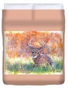 Watercolour Painting Of A Stag In The Snow Duvet Cover