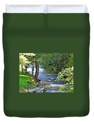 Waterfall And Hammock In Summer Duvet Cover