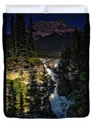 Waterfall And Mountain In Jasper Duvet Cover