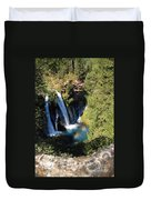 Waterfall And Rainbow 2 Duvet Cover