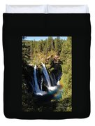 Waterfall And Rainbow Duvet Cover