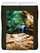 Waterfall At Cliff Side Duvet Cover