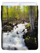 Waterfall By The Aspens Duvet Cover
