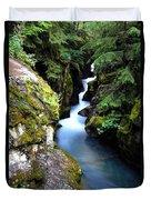 Waterfall, Glacier National Park Duvet Cover