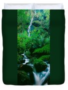 Waterfall In A Forest, Dartmoor, Devon Duvet Cover