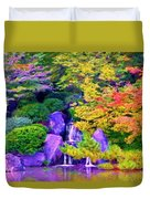 Waterfall In Fall Duvet Cover
