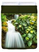Waterfall In The Hosta Duvet Cover
