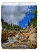 Waterfall In The Rockies Duvet Cover