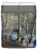 Waterfall In Winter Duvet Cover