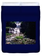 Waterfall Into The Stream Duvet Cover