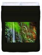 Waterfall Over Ferns Duvet Cover