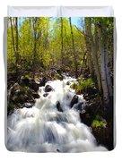 Waterfall Through The Aspens Duvet Cover