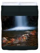 Waterfall And Leaves In Autumn Duvet Cover