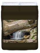 Waterfall Under Fallen Log Duvet Cover