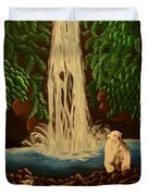 Waterfall With Polar Bears Duvet Cover