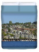 Waterfront Living On Lake Union Duvet Cover